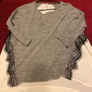 Grey and white dressy top